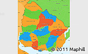 Political Simple Map of Uruguay, political shades outside