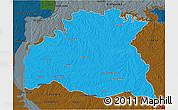 Political 3D Map of SORIANO, darken