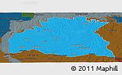 Political Panoramic Map of SORIANO, darken