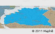 Political Panoramic Map of SORIANO, semi-desaturated