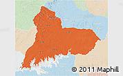 Political 3D Map of TACUAREMBO, lighten