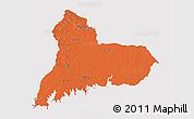 Political 3D Map of TACUAREMBO, single color outside