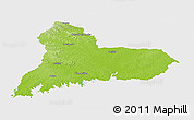 Physical Panoramic Map of TACUAREMBO, single color outside