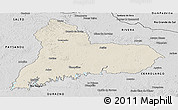 Shaded Relief Panoramic Map of TACUAREMBO, desaturated