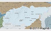 Political Shades Map of TREINTA Y TRES, semi-desaturated