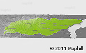 Physical Panoramic Map of TREINTA Y TRES, desaturated