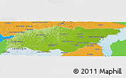 Physical Panoramic Map of TREINTA Y TRES, political outside