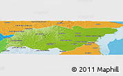 Physical Panoramic Map of TREINTA Y TRES, political shades outside