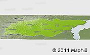 Physical Panoramic Map of TREINTA Y TRES, semi-desaturated