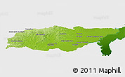 Physical Panoramic Map of TREINTA Y TRES, single color outside
