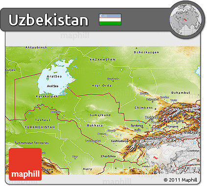 Free Physical 3D Map of Uzbekistan