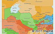 Political Shades 3D Map of Uzbekistan