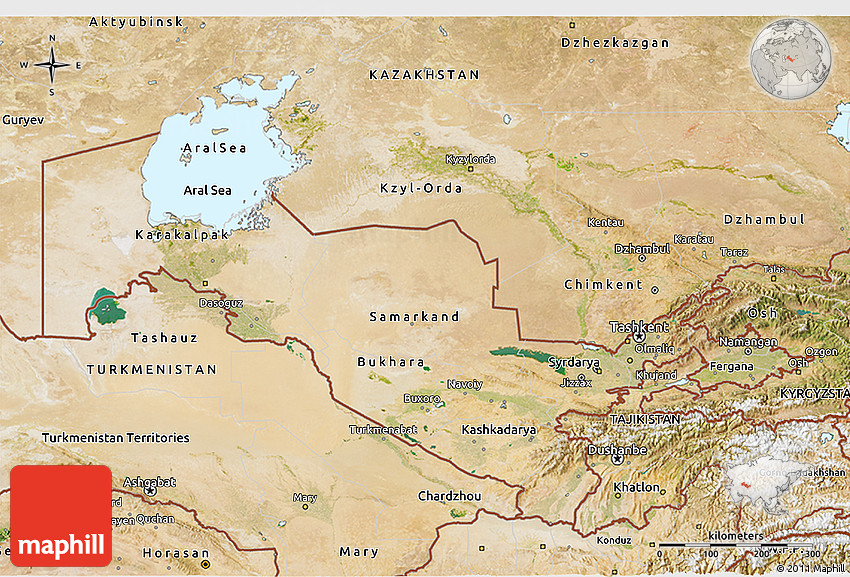 Satellite 3D Map of Uzbekistan
