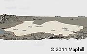Shaded Relief Panoramic Map of Fergana, darken
