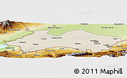 Shaded Relief Panoramic Map of Fergana, physical outside