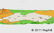 Shaded Relief Panoramic Map of Fergana, political outside