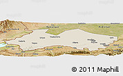 Shaded Relief Panoramic Map of Fergana, satellite outside