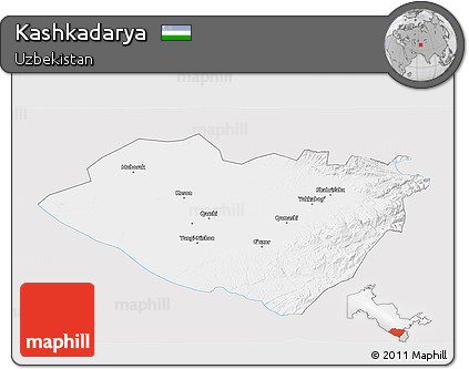 Silver Style 3D Map of Kashkadarya, single color outside