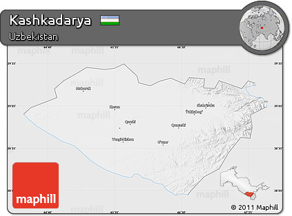 Silver Style Map of Kashkadarya, single color outside
