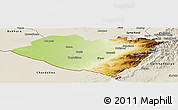 Physical Panoramic Map of Kashkadarya, shaded relief outside