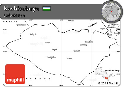 Blank Simple Map of Kashkadarya