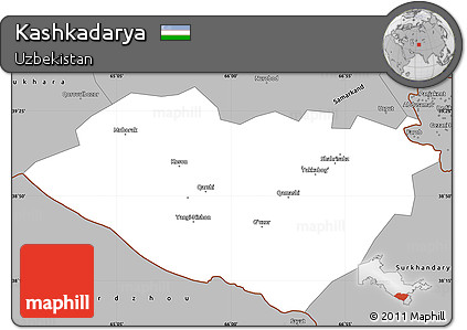 Gray Simple Map of Kashkadarya