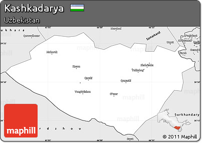 Silver Style Simple Map of Kashkadarya