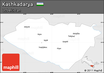 Silver Style Simple Map of Kashkadarya, single color outside