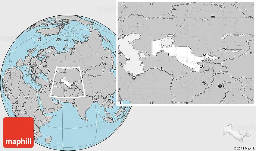 Blank Location Map of Uzbekistan, gray outside