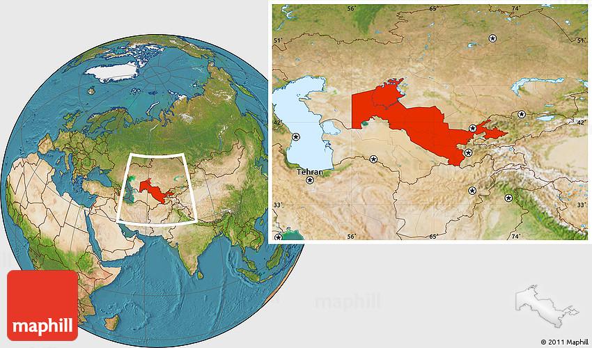 Satellite Location Map Of Uzbekistan - Uzbekistan map