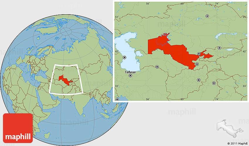 Savanna Style Location Map of Uzbekistan