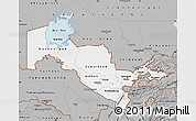 Gray Map of Uzbekistan