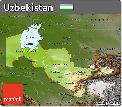 Free Physical Map of Uzbekistan darken