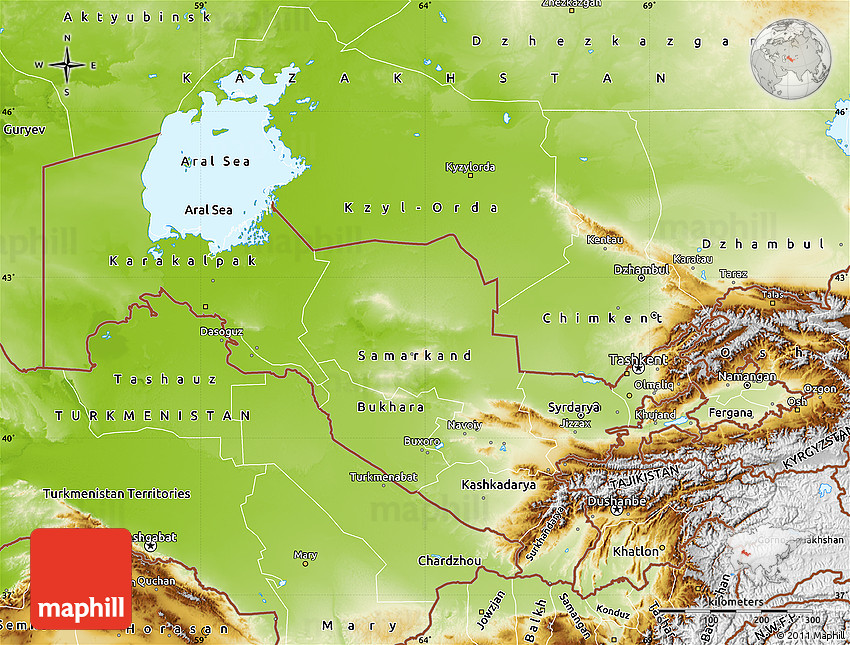 Physical Map of Uzbekistan
