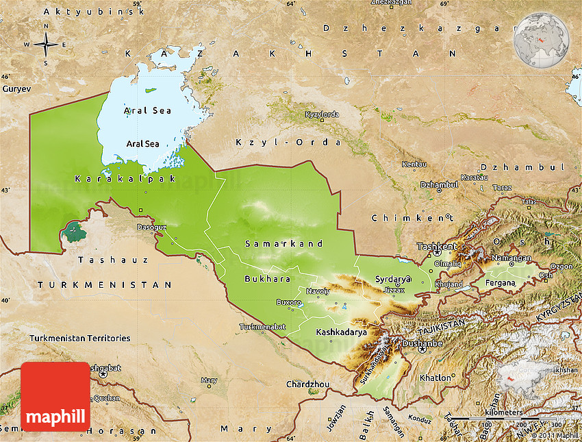 Physical Map of Uzbekistan satellite outside shaded relief sea