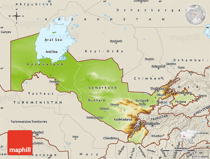 Uzbekistan Physical Map