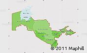 Political Shades Map of Uzbekistan, cropped outside