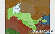 Political Shades Map of Uzbekistan, darken