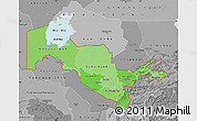 Political Shades Map of Uzbekistan, desaturated