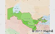 Political Shades Map of Uzbekistan, lighten