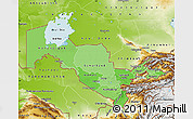 Political Shades Map of Uzbekistan, physical outside
