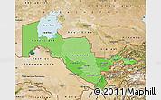 Political Shades Map of Uzbekistan, satellite outside, bathymetry sea