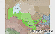Political Shades Map of Uzbekistan, semi-desaturated, land only
