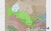 Political Shades Map of Uzbekistan, semi-desaturated