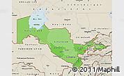 Political Shades Map of Uzbekistan, shaded relief outside, bathymetry sea