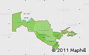 Political Shades Map of Uzbekistan, single color outside