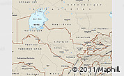 Shaded Relief Map of Uzbekistan