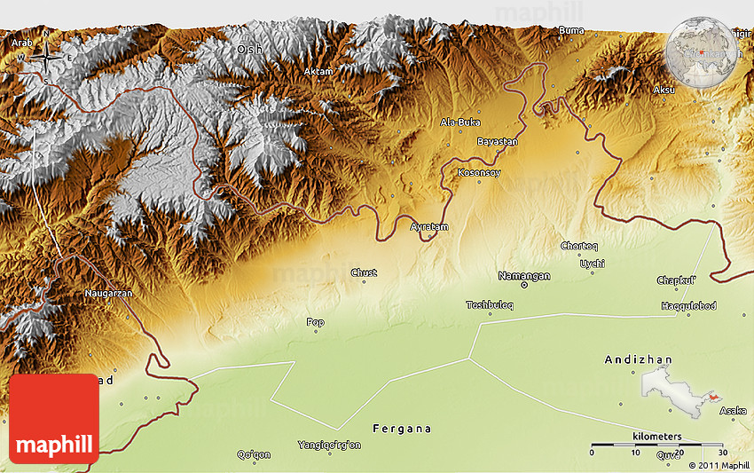Physical 3D Map of Namangan