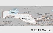 Gray Panoramic Map of Uzbekistan