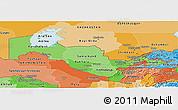 Political Shades Panoramic Map of Uzbekistan